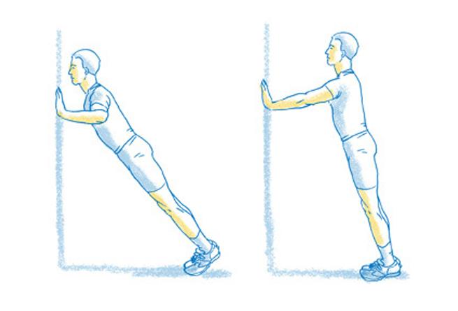 Flexão de braço com apoio na parede